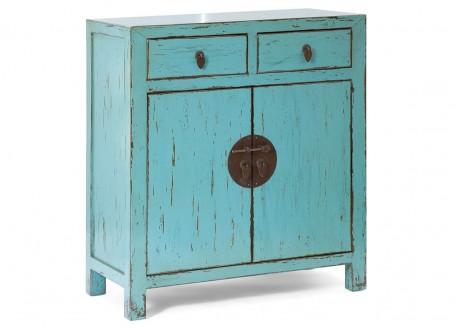 Buffet chinois bleu 2 tiroirs et 2 portes
