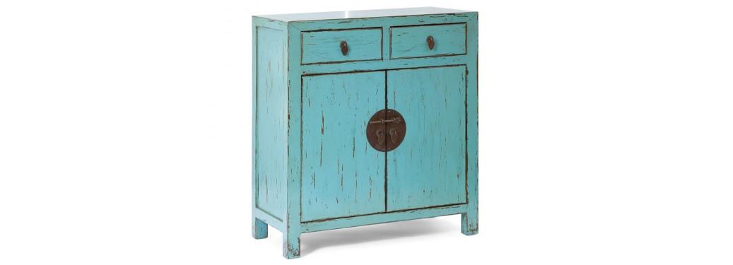 Buffet chinois -2 portes 2 tiroirs - Bleu