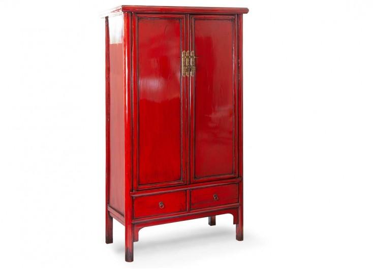 Armoire chinoise rouge 2 portes et 2 tiroirs
