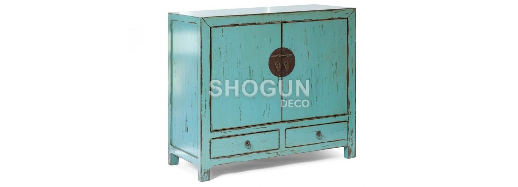 Buffet chinois - 2 portes 2 tiroirs - bleu