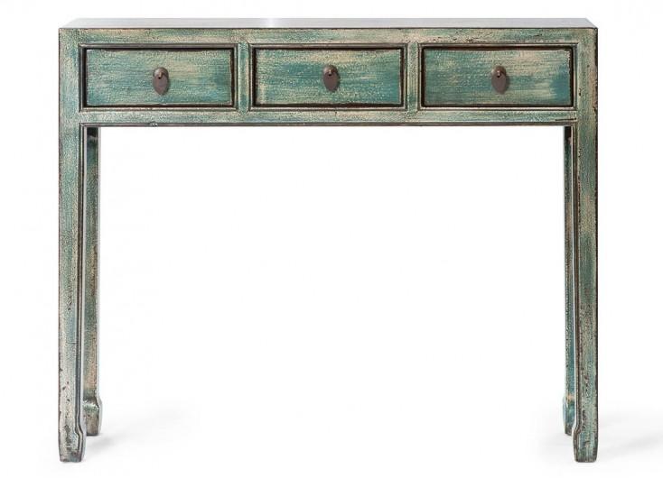 Console chinoise verte 3 tiroirs