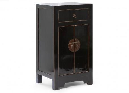 Meuble d'appoint chinois noir 1 tiroir et 2 portes