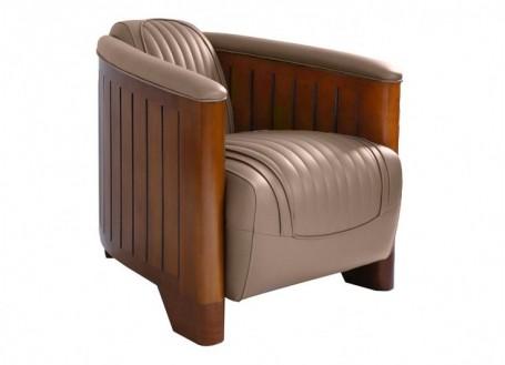 Canoë armchair - taupe leather