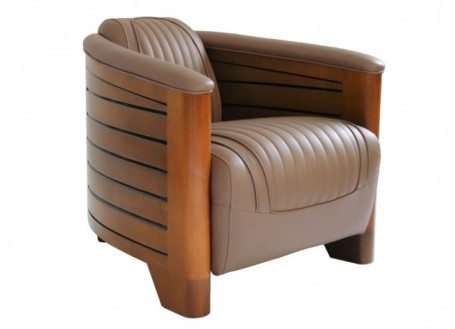 Fauteuil club Pirogue - Cuir taupe