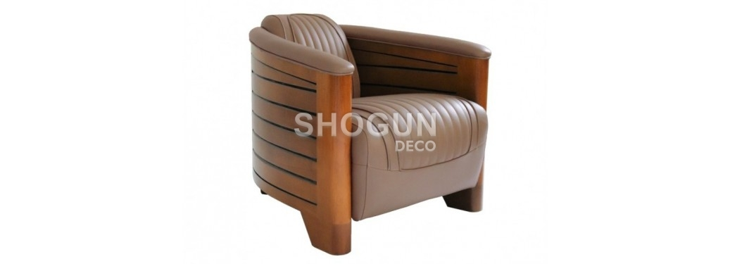Pirogue armchair - Taupe leather