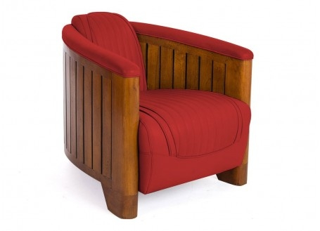 Canoe armchair - red leather