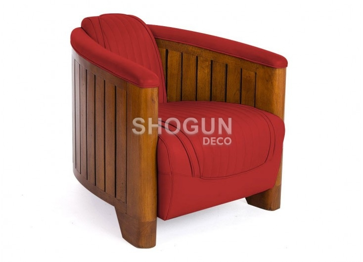 Fauteuil club Canoë - cuir rouge