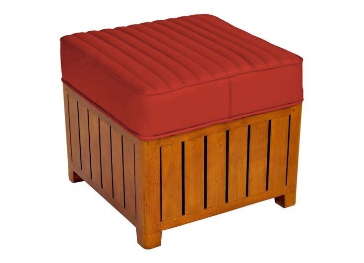 Pouf carré Canoë en cuir rouge