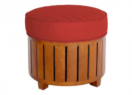 Canoë round footstool - red leather