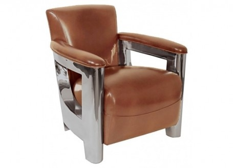 Aston Art Deco armchair in brown leather