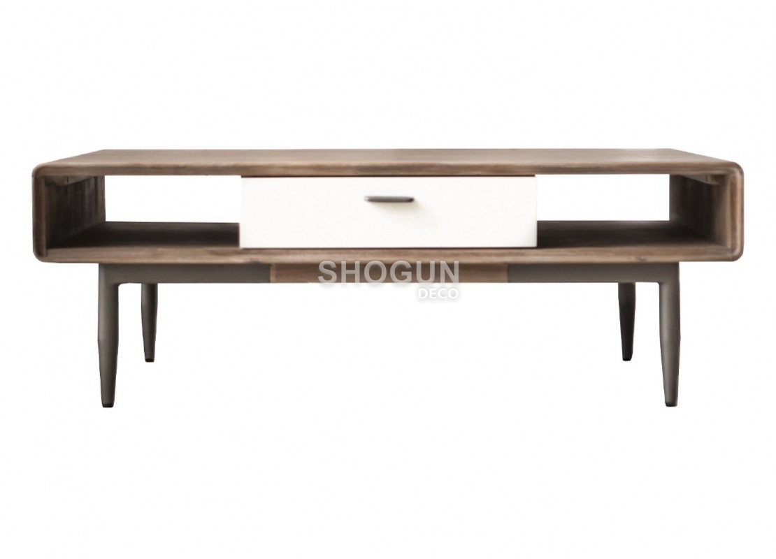Table basse blanche alba 2 tiroirs bois massif acacia for Table basse blanche but