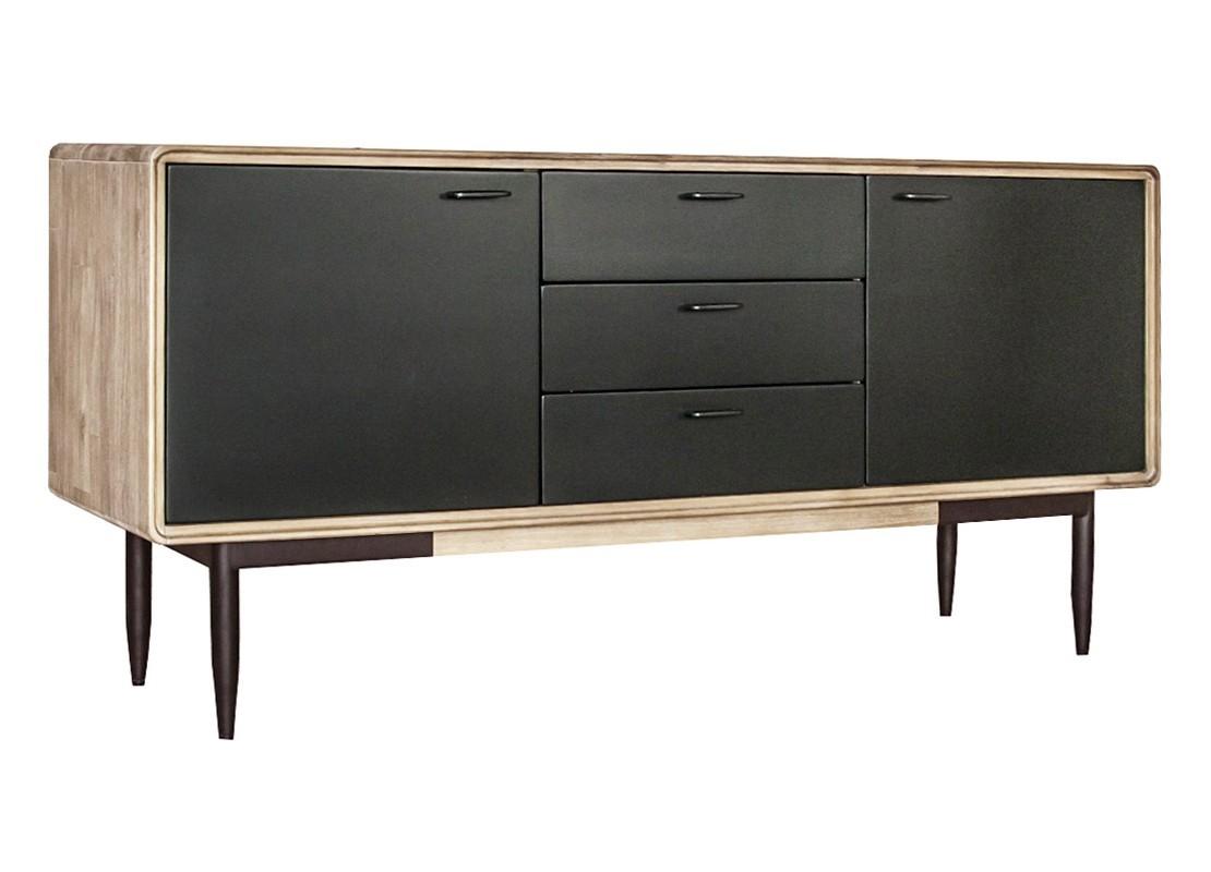 buffet noir alba 2 portes et 3 tiroirs bois massif acacia. Black Bedroom Furniture Sets. Home Design Ideas