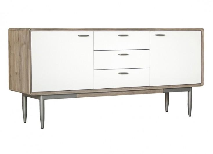buffet blanc alba 2 portes et 3 tiroirs bois massif acacia. Black Bedroom Furniture Sets. Home Design Ideas