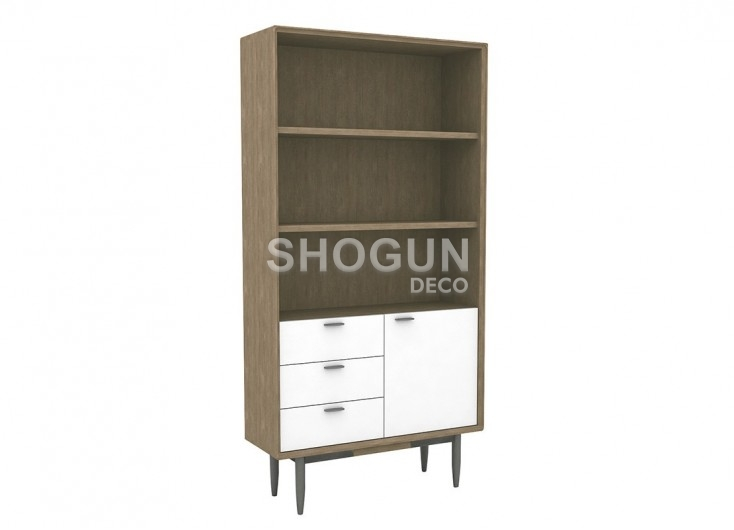 biblioth que tag re en bois massif acacia avec fa ades blanches. Black Bedroom Furniture Sets. Home Design Ideas
