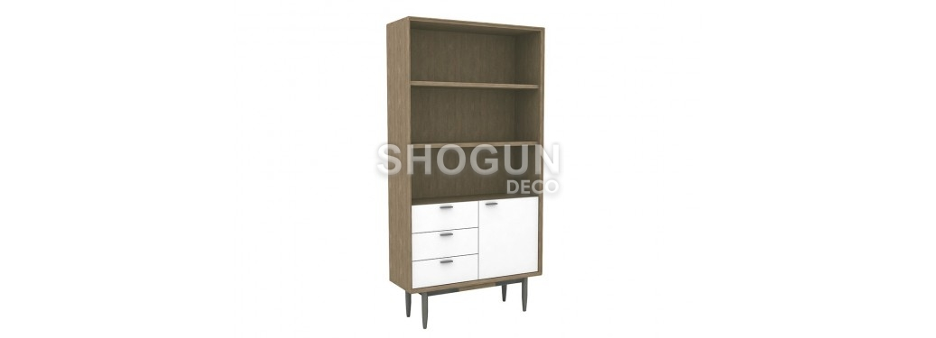 Bibliothèque / étagère blanche Alba - 1 porte et 3 tiroirs