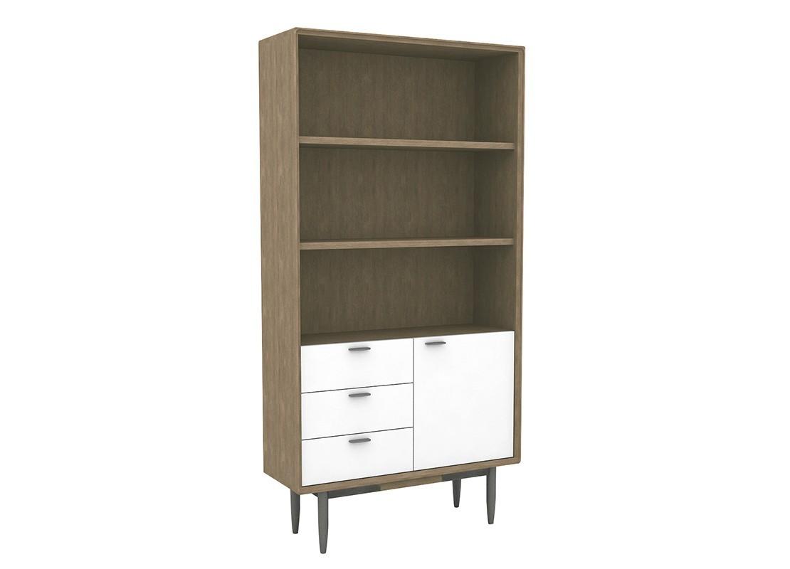 biblioth que tag re en bois massif acacia avec fa ades. Black Bedroom Furniture Sets. Home Design Ideas