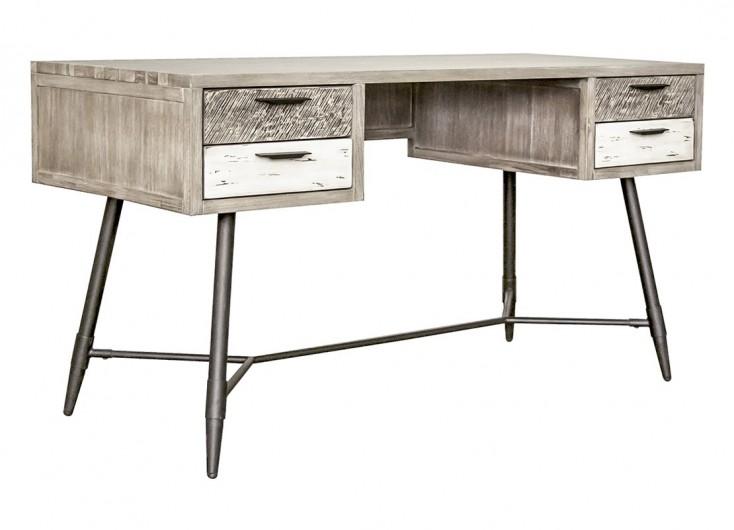 Bureau havana tiroirs bois massif et placage acacia pieds