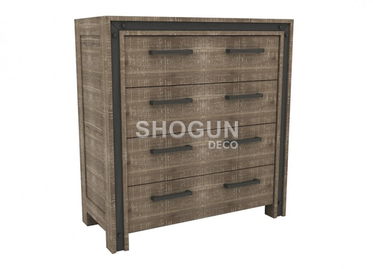 commode haute indus urban 4 tiroirs en bois massif acacia. Black Bedroom Furniture Sets. Home Design Ideas