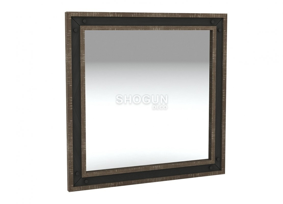 miroir carr indus urban en bois massif acacia 80cm. Black Bedroom Furniture Sets. Home Design Ideas