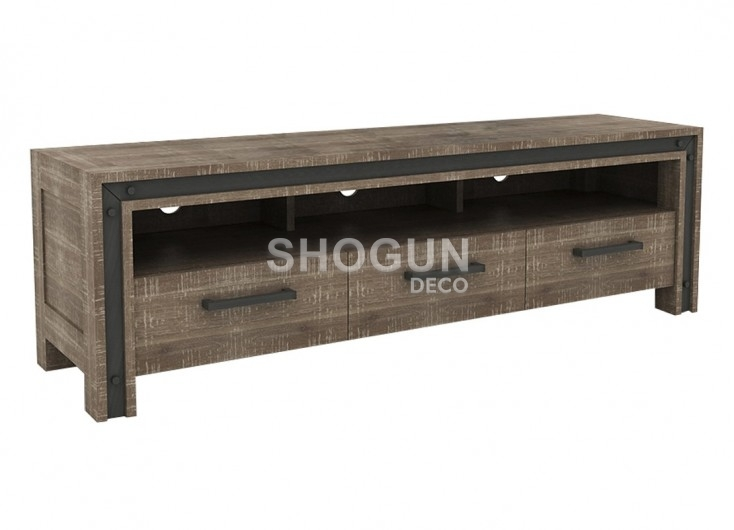 meuble tv indus urban en bois massif acacia 3 tiroirs et 1 tablette. Black Bedroom Furniture Sets. Home Design Ideas