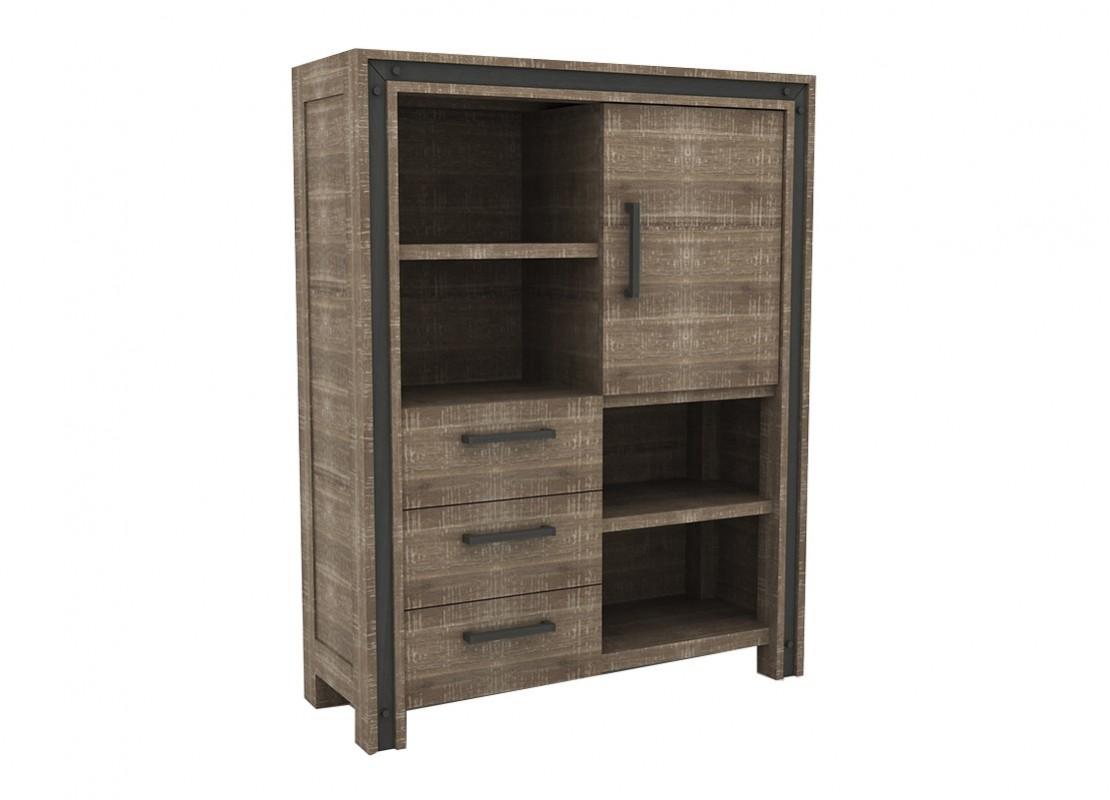 buffet haut indus urban en bois massif acacia 1 porte et. Black Bedroom Furniture Sets. Home Design Ideas