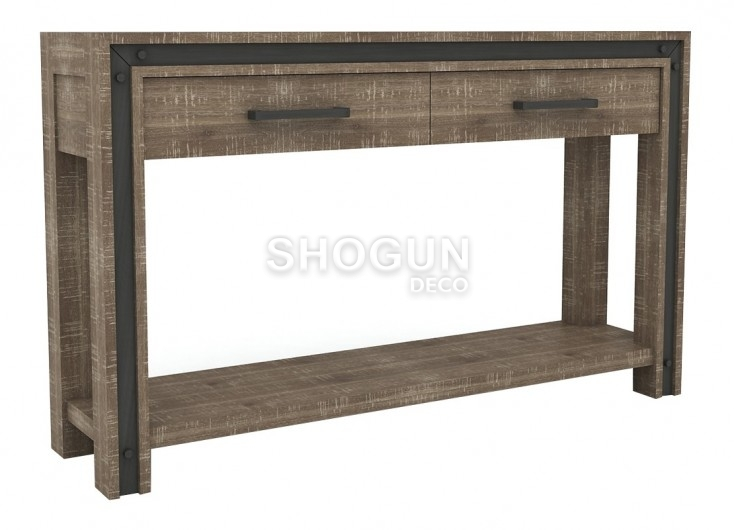 console indus urban en bois massif acacia 2 tiroirs et 1 tablette. Black Bedroom Furniture Sets. Home Design Ideas