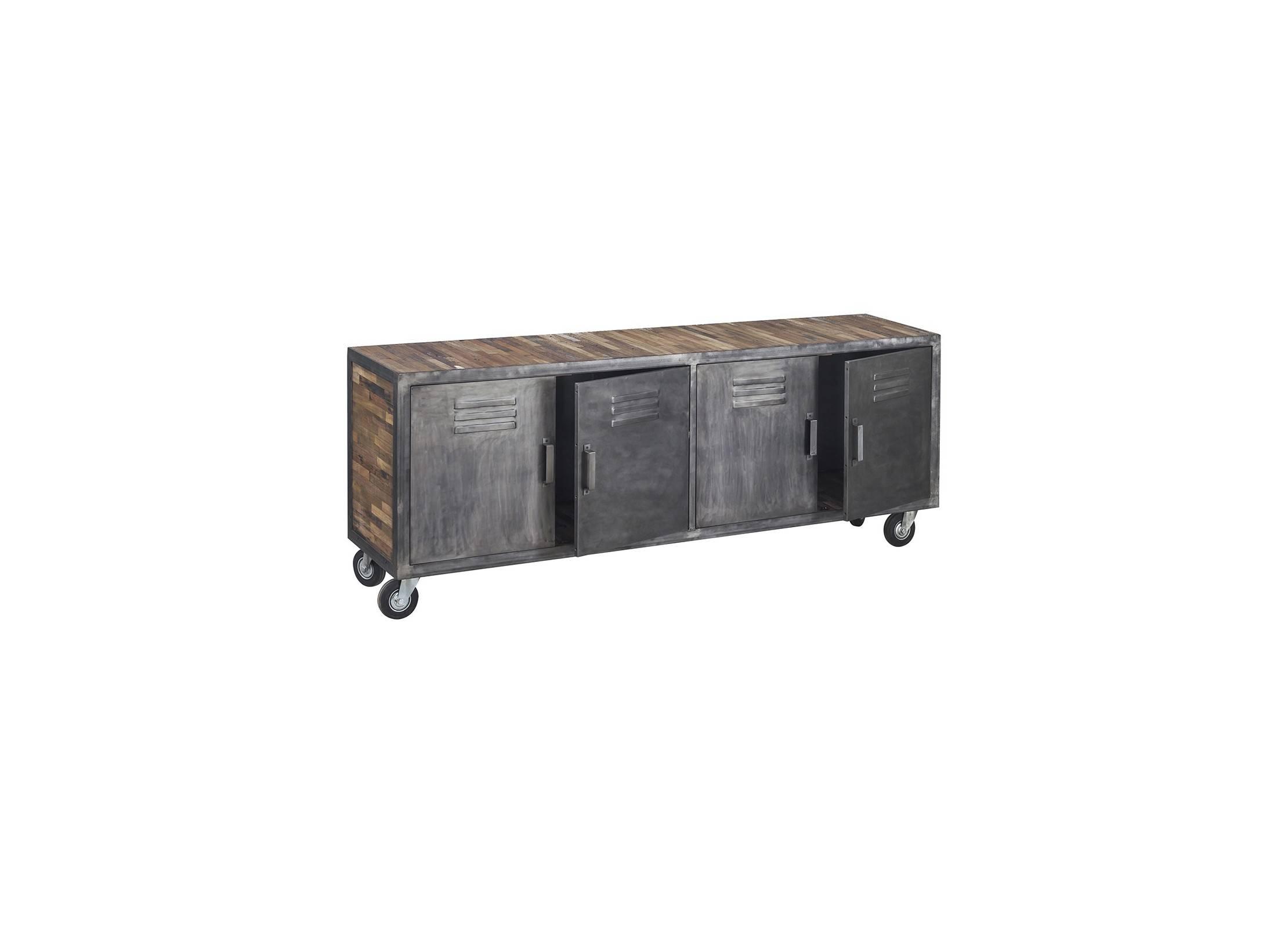 meuble tv sur roulettes locker 4 portes l200cm. Black Bedroom Furniture Sets. Home Design Ideas