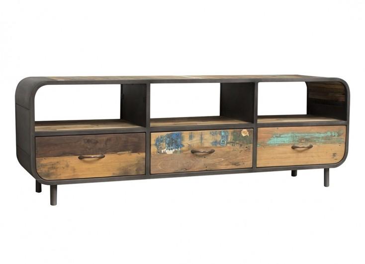 meuble tv multim dia indus sixties en bois massif et m tal. Black Bedroom Furniture Sets. Home Design Ideas