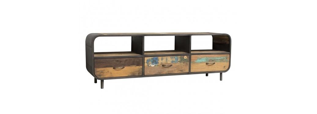 Meuble TV multimédia Sixties - 3 tiroirs