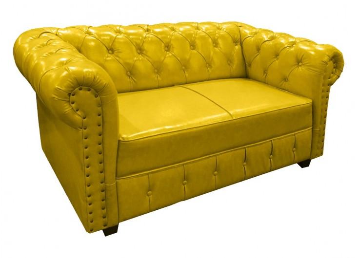 Canapé Chesterfield cuir jaune