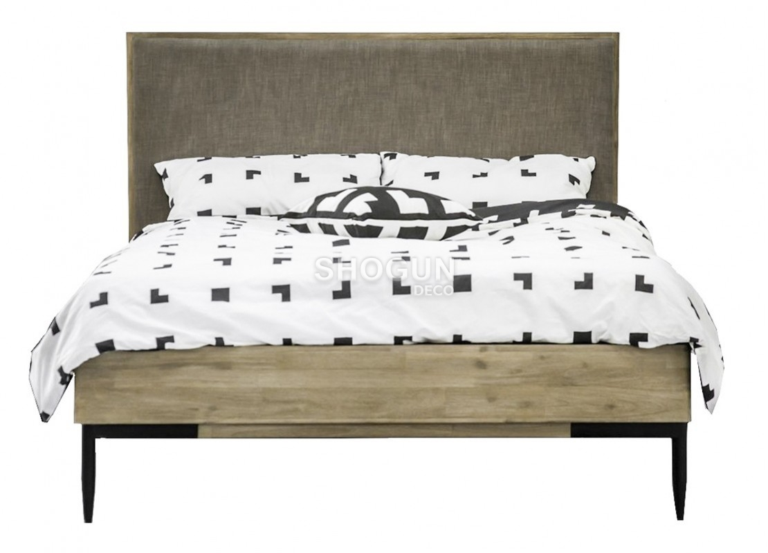 lit 2 places alba 140 cm bois massif acacia et tissu. Black Bedroom Furniture Sets. Home Design Ideas