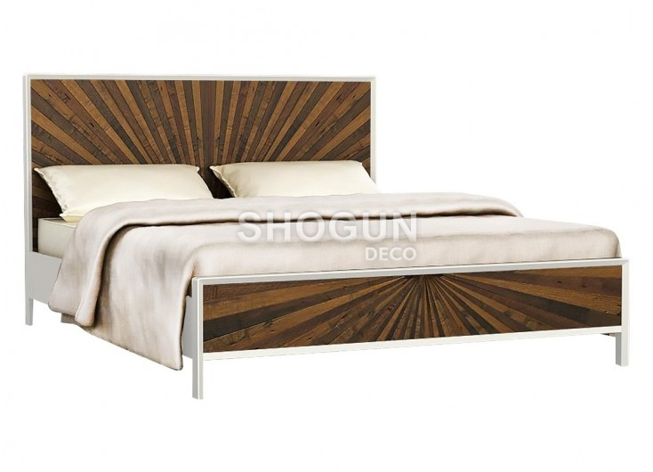 lit 2 places design surya 160cm laqu blanc et bois massif ch ne. Black Bedroom Furniture Sets. Home Design Ideas