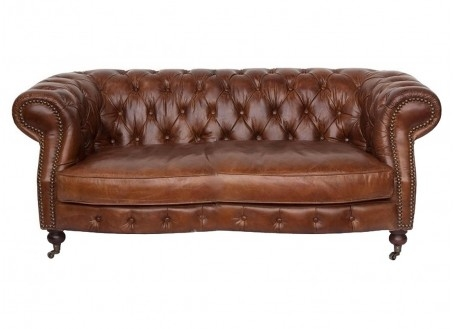Canapé club Chesterfield Zola - 2 places - Cuir marron