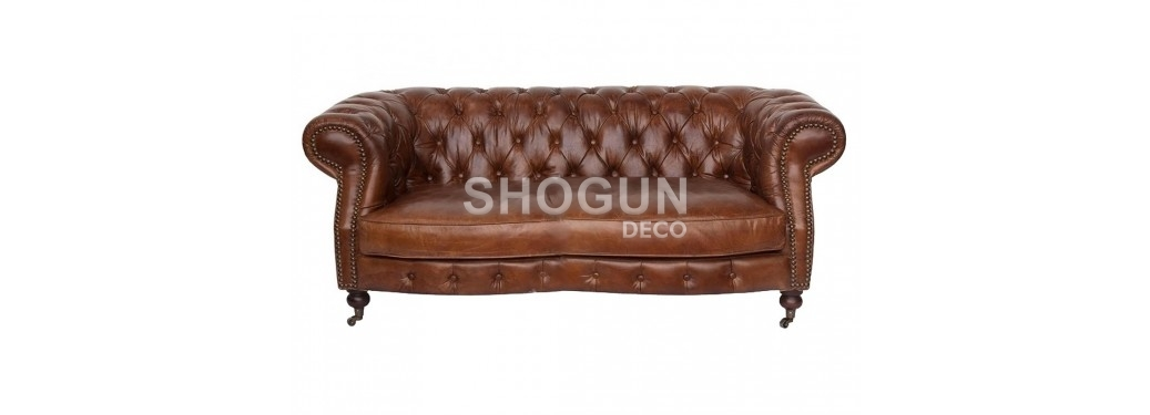 """Chesterfield sofa """"Zola"""", 2 seaters - Brown leather"""