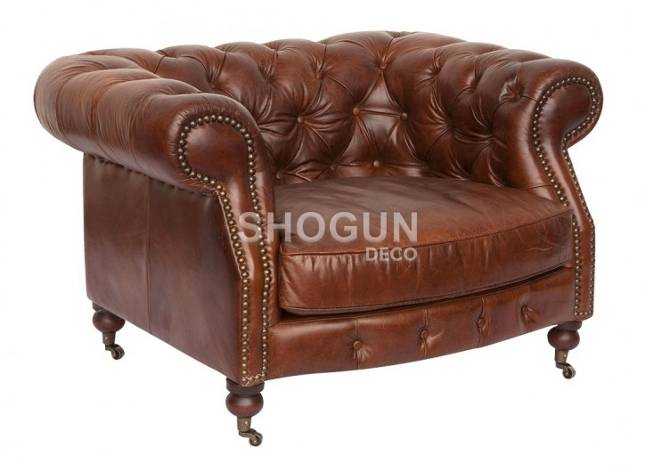 Fauteuil cuir Chesterfield Zola - 3/4 face