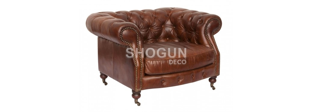 "Chesterfield armchair ""Zola"" - Brown leather"