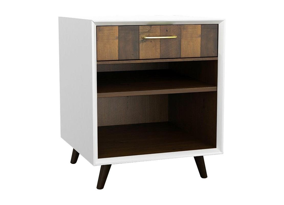chevet laqu blanc et bois massif ch ne 1 tiroir et 2. Black Bedroom Furniture Sets. Home Design Ideas