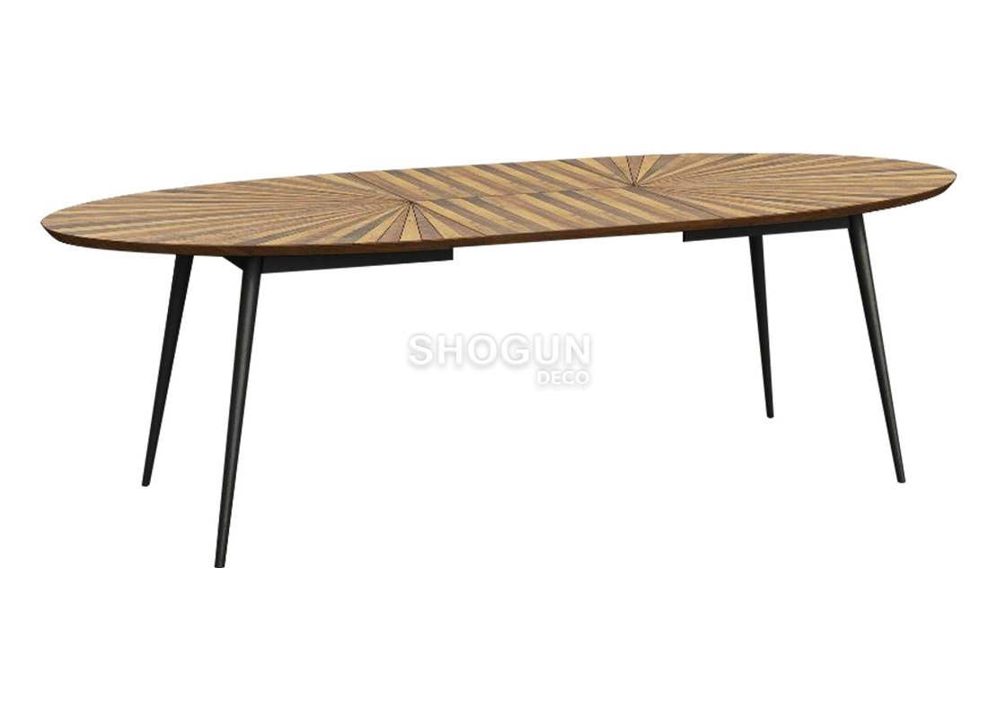 Table de repas ovale surya bois massif ch ne avec allonge for Table ovale allonge