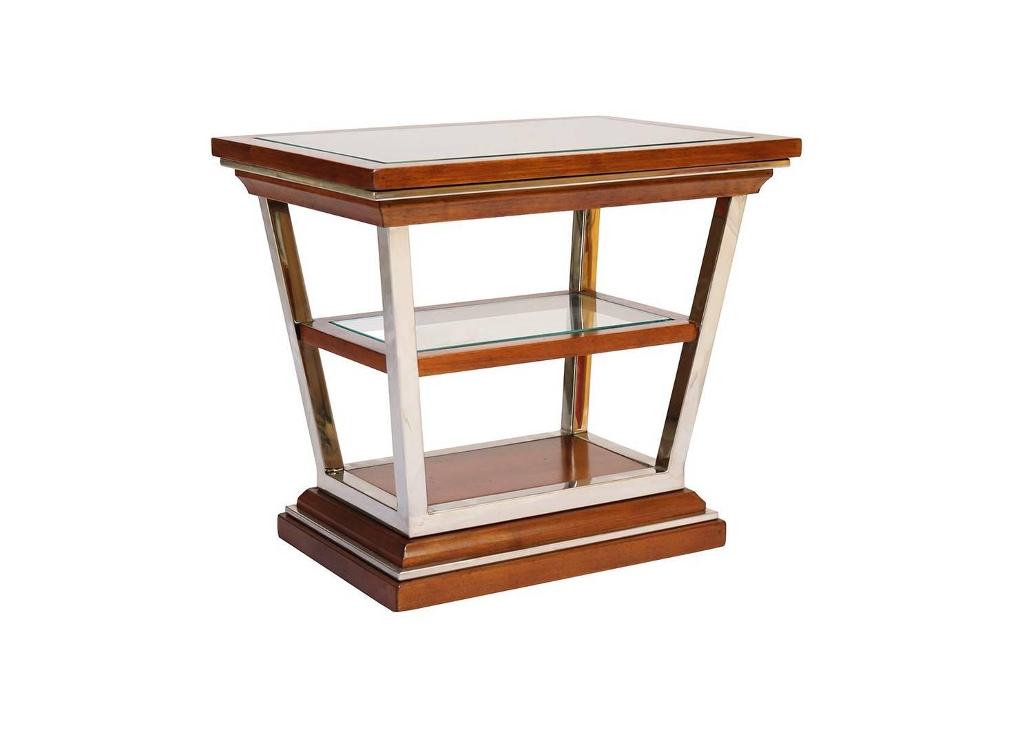 Bout de canapé rectangulaire Montaigne , plateau en verre, accacia finition noyer et inox