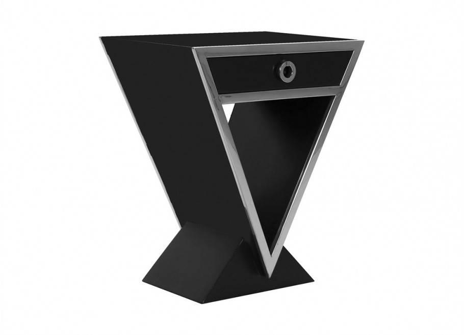 Chevet Delta laquée noire - 1 tiroir