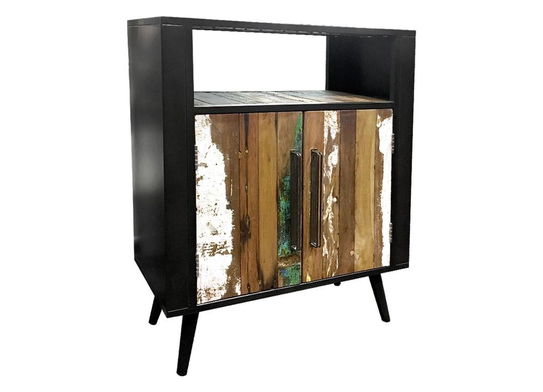 meuble de rangement pour chaussures 2 portes et 1 niche bois massif et structure en fer patin. Black Bedroom Furniture Sets. Home Design Ideas