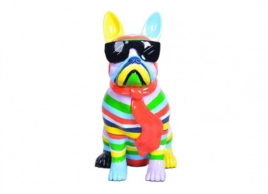 Chien Bouledogue avec cravate et lunettes. Statue en résine