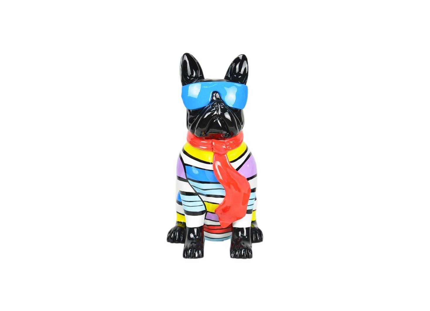 statue chien bouledogue assis lunettes r sine peinte la main. Black Bedroom Furniture Sets. Home Design Ideas