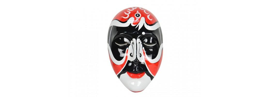 Masque visage décoratif, résine peinte - H47 cm