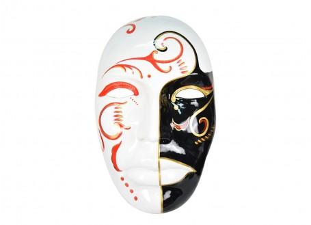 Grand masque, visage décoratif, résine peinte
