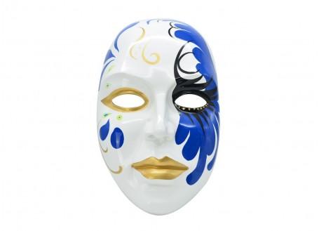 Masque visage décoratif, résine peinte