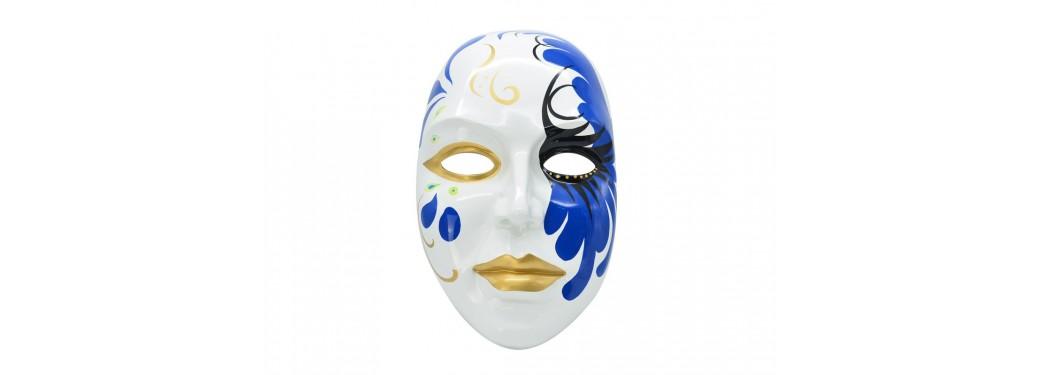 Masque mural décoratif, résine peinte