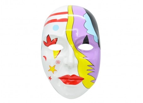 Masque visage décoratif, résine peinte 59 cm