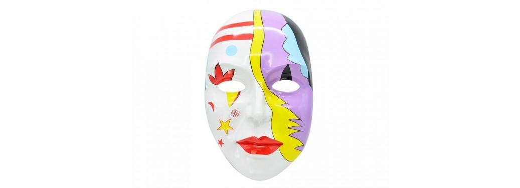 Masque visage décoratif, résine peinte - H59 cm