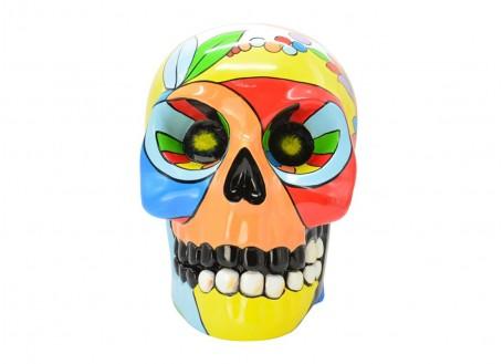 Statue crâne multicolore. En résine peinte à la main 41 cm.